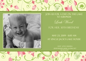 Leah's 30th Invitation